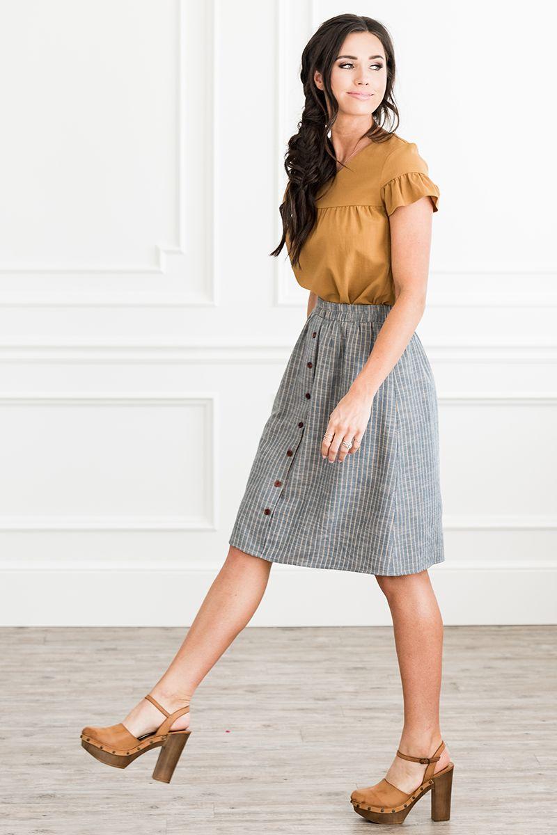Full Skirt with Buttons - MSF18606 #fullskirtoutfit