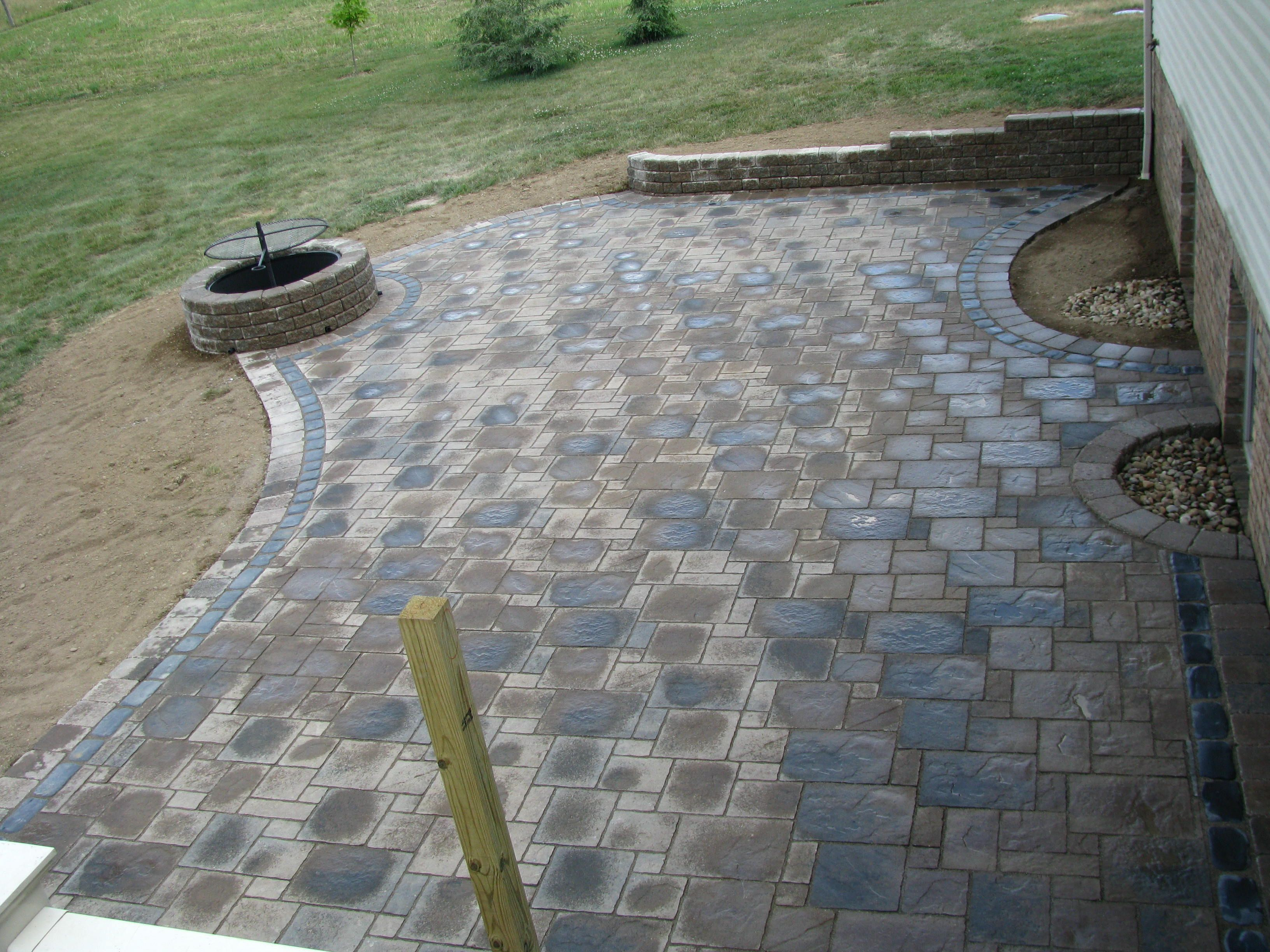 Unilock Pavers Avante Ashlar With Cobble And Brussels Border Fire Pit Made Metal Insert