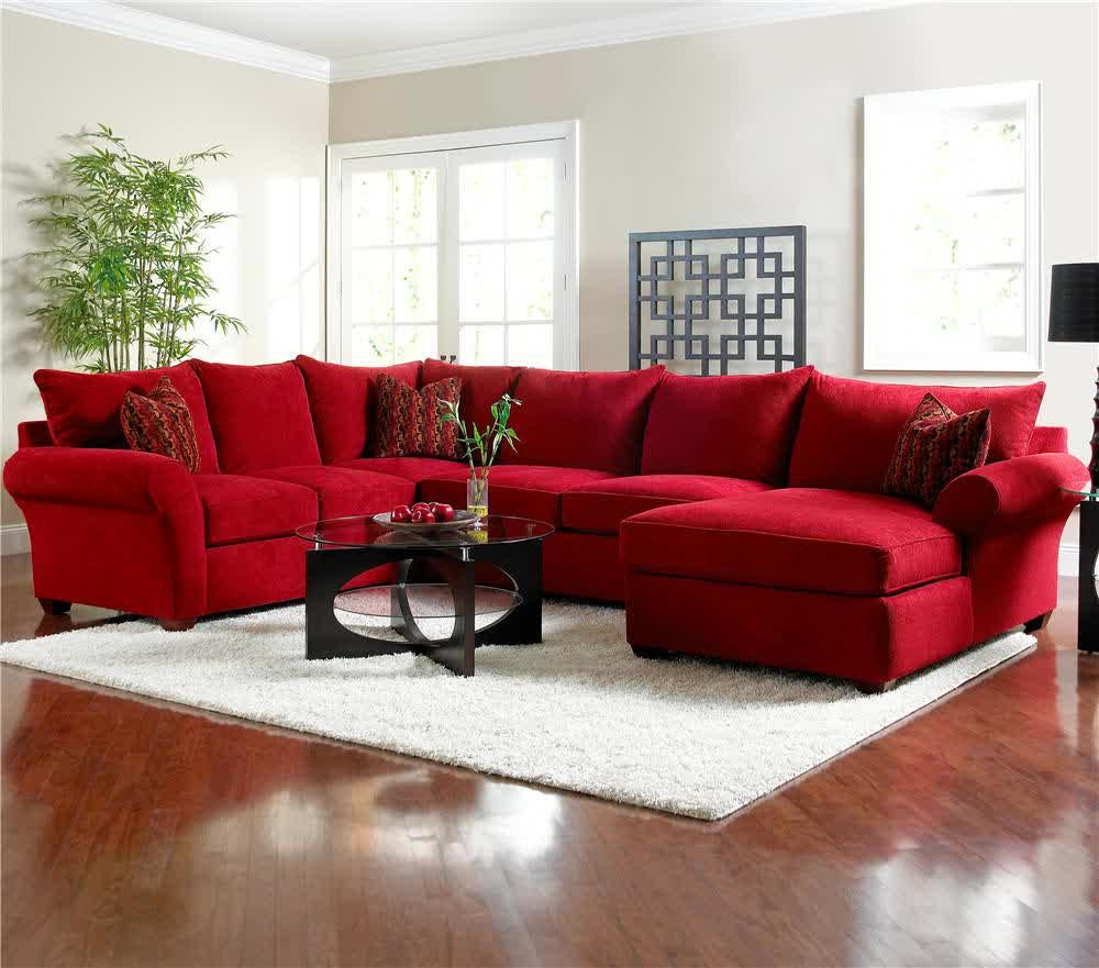 Picture of Red Microfiber Sectionals Highlight Your Living Room ...