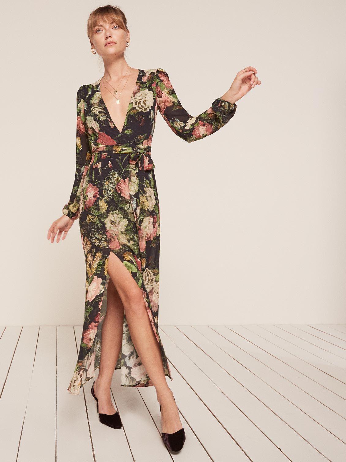 2b2202c3102b Mayfair midnight garden floral wrap maxi dress Reformation | (Mostly ...