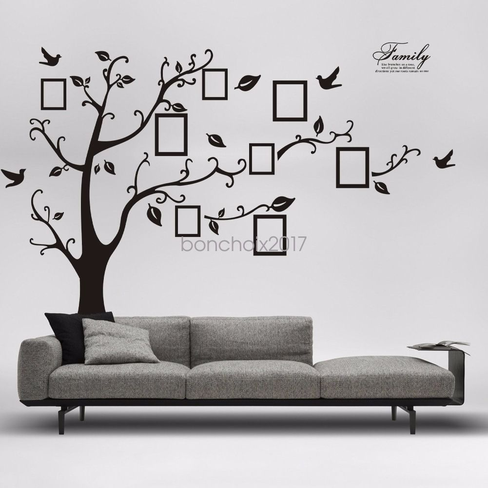 Wall decal new york letter frame cheap stickers world discount - Us Diy Family Tree Wall Decal Sticker Vinyl Photo Picture Frame Removable Black 7 88