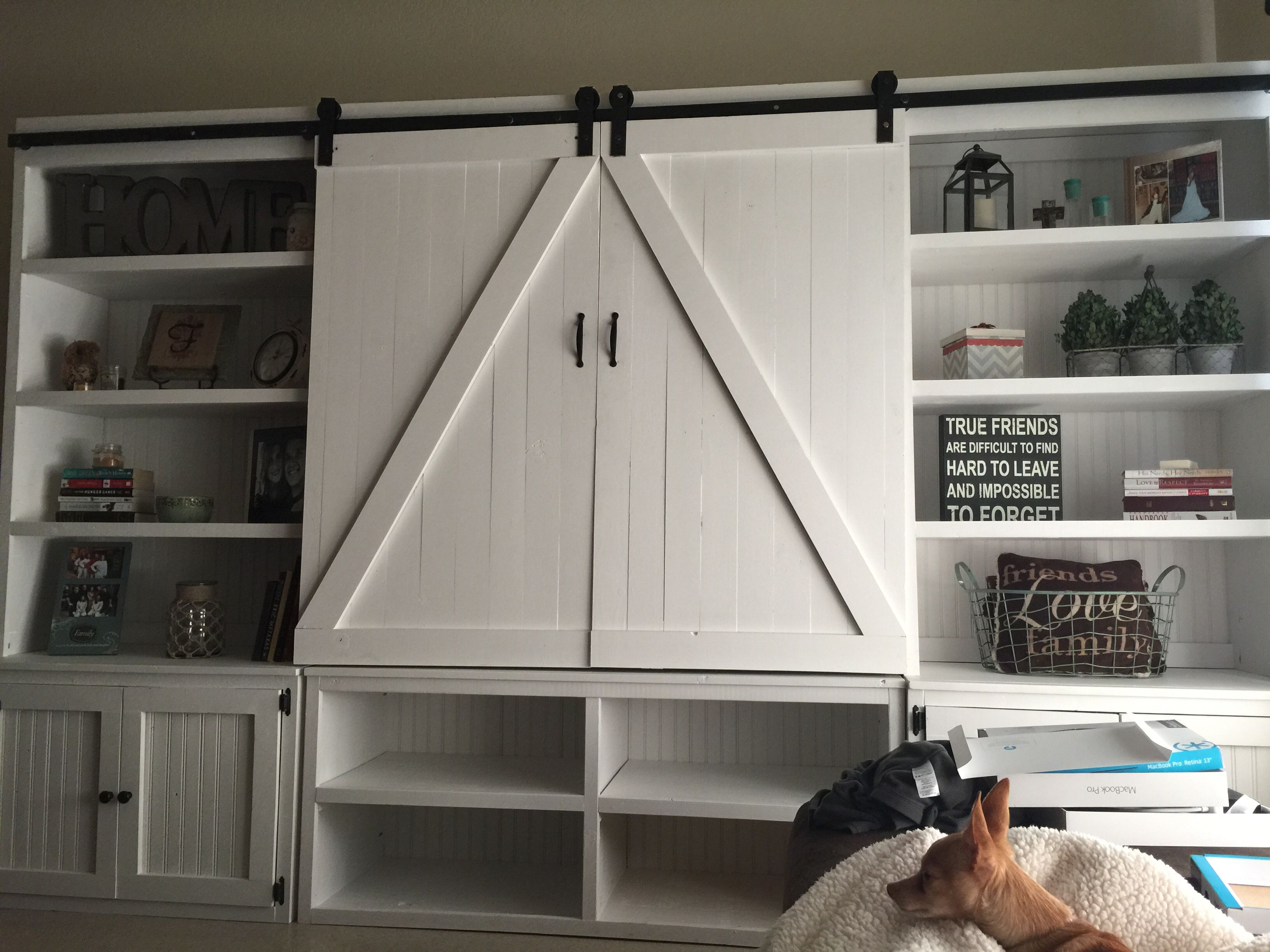 Our amazing entertainment center diy rustic barndoors