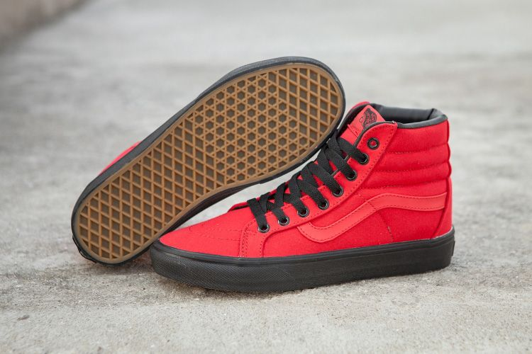 1791e4d5c3f Vans SK8-Hi Reissue Red Canvas Black Outsole Skate Shoe  Vans