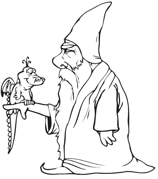 Wizard With Baby Dragon Coloring Page | Adult Coloring | Printables ...