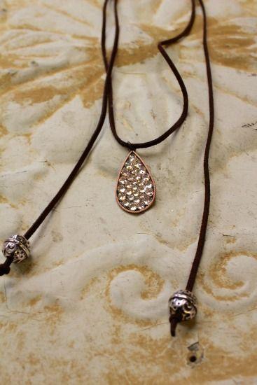 Long Brown Suede Wrap Chocker with Swarovski Teardrop http://www.rhinestonegal.com/catalog.php?item=2868