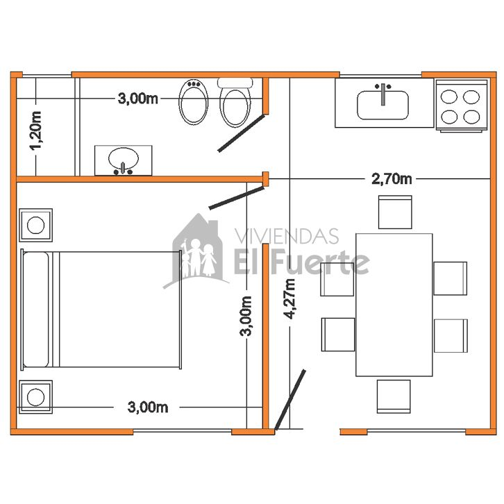 Modelo Serrana 24 1 Dormitorio Planos De Casas Pequenas Planos