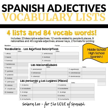 Spanish Adjectives Vocabulary Lists Easy Spanish Sub Plans