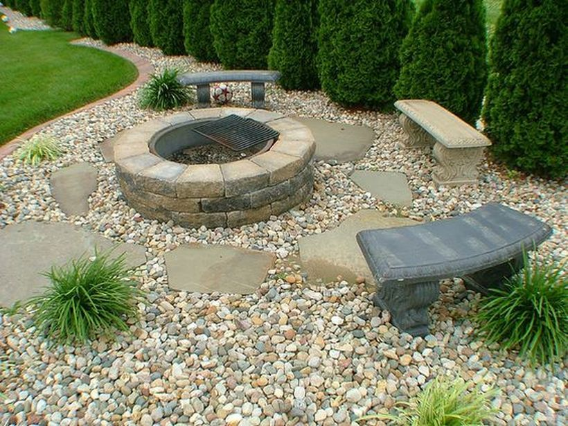 100 stunning rock garden landscaping ideas https decomg for Backyard rock fire pit ideas