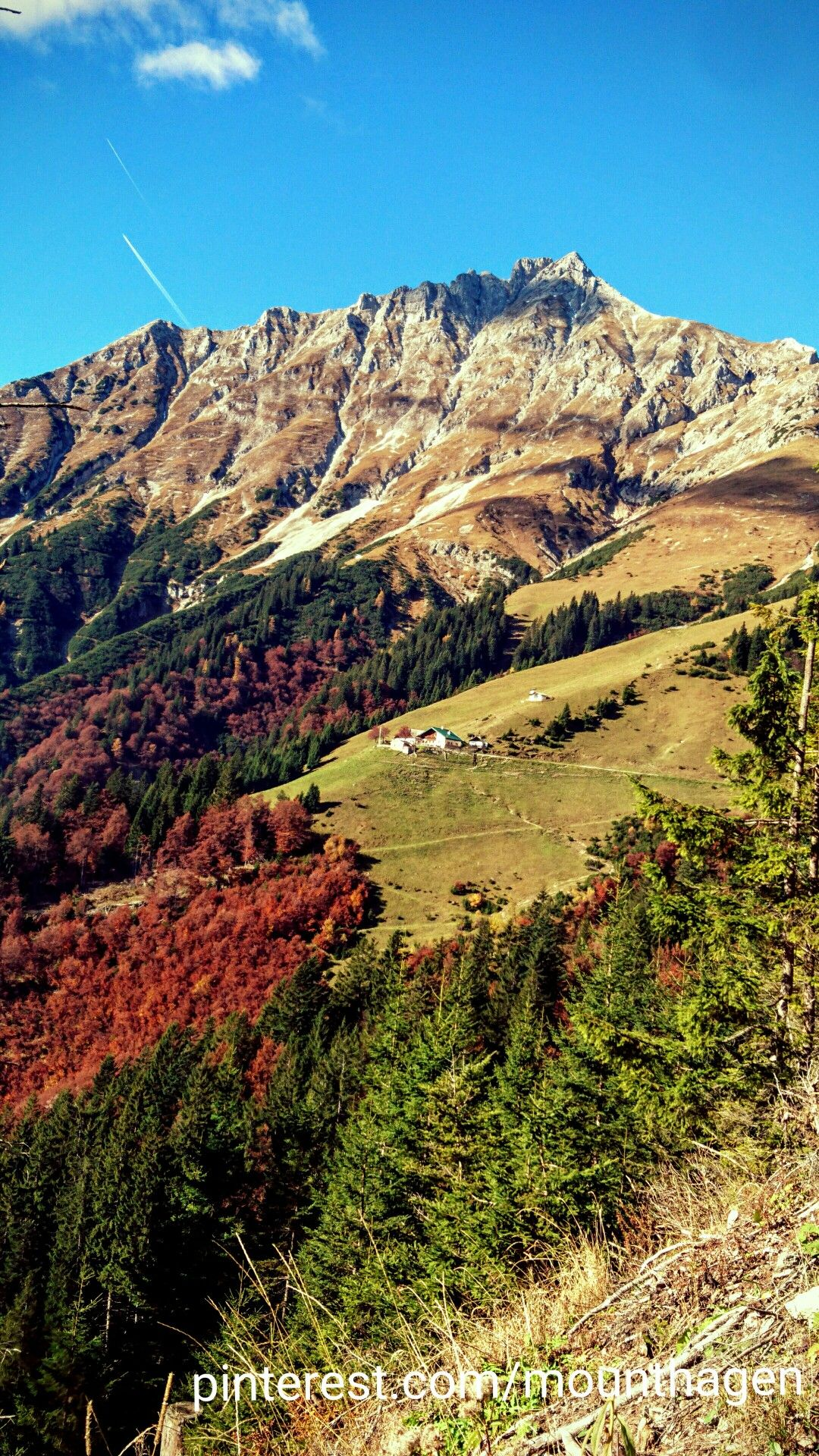 Höttinger Alm from a distance in autumn, Austria
