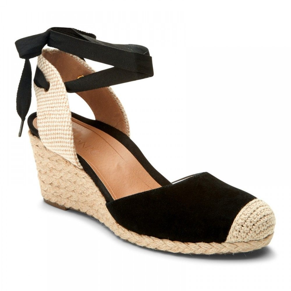 "52d05f98d05e Vionic ""Maris"" printed-canvas and black-suede round-toe ankle-wrap tie mid-heeled  espadrille wedge sandal featuring grosgrain laces and crocheted toe-cap"