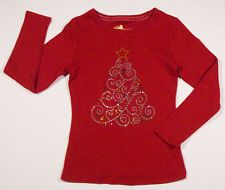 COPPER KEY GIRLS SIZE 7 SHIRT SHIMMERY CHRISTMAS TREE RED HOLIDAY TOP