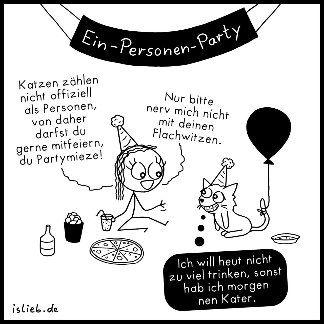 Ein-Personen-Party - #alleine #feiern #flachwitze #islieb #katze #mieze