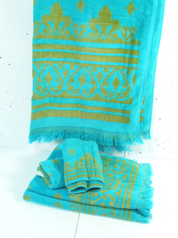 Vintage Bath Towel Set Green And Blue Bath Towel Hand Towels Wash Cloths Hollywood Regency Blue Bath Towels Vintage Bath Vintage Towels