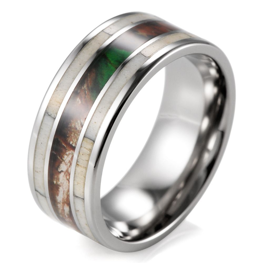 unique mens camo wedding band with real antler titanium outdoor hunting ring for men male jewelry