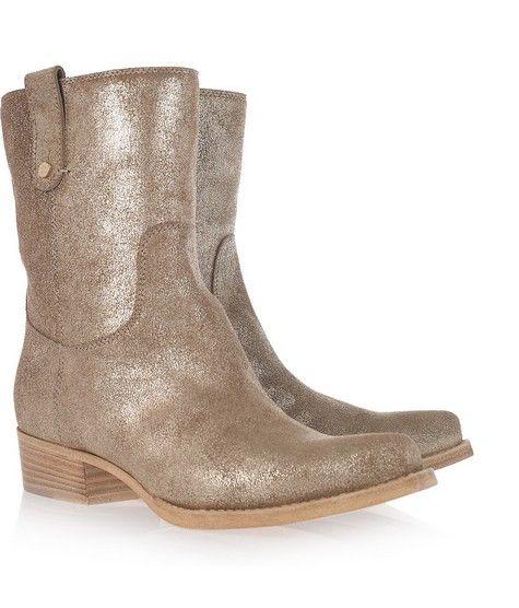 Metallic Textured Leather Cowboy Boot