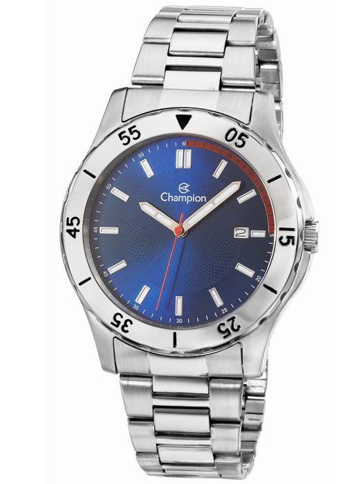7323cd22a58 Relógio Masculino Champion Prata com Dial Azul CA30150A