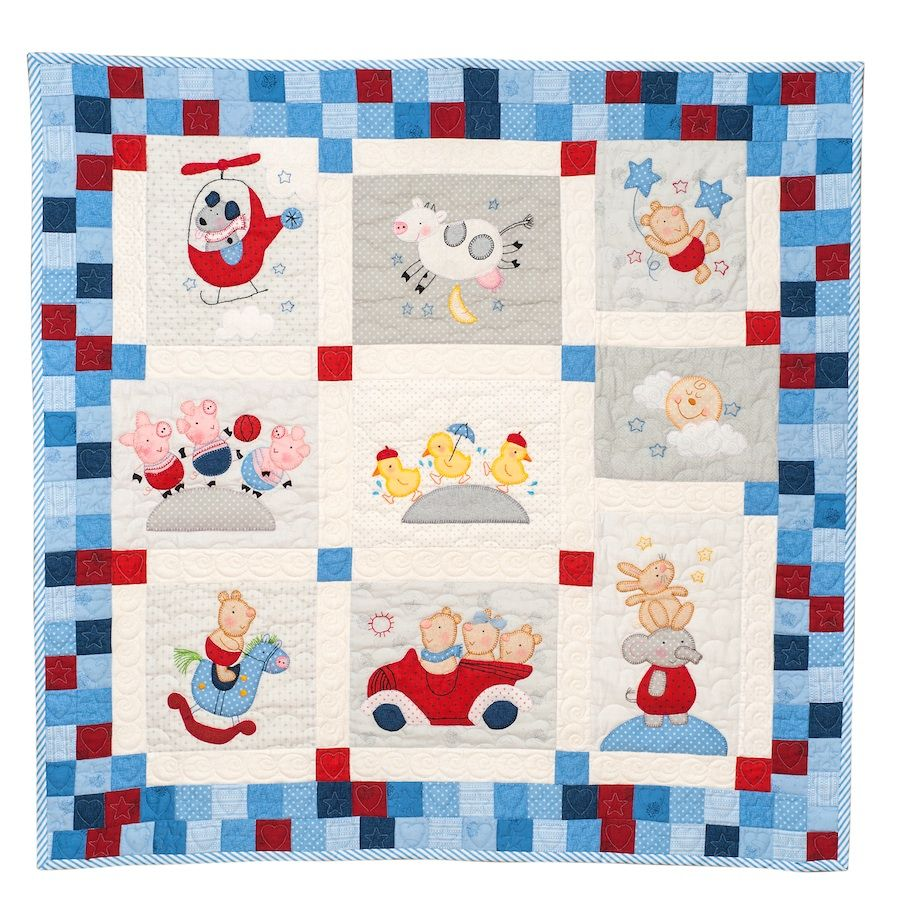 A modern quilt for the modern nursery.  Easy applique and piecing.  Can be appliqued by hand or machine.  The Nursery Rhyme Quilt is designed to look fabulous on a cot or a wall.  Use any ...