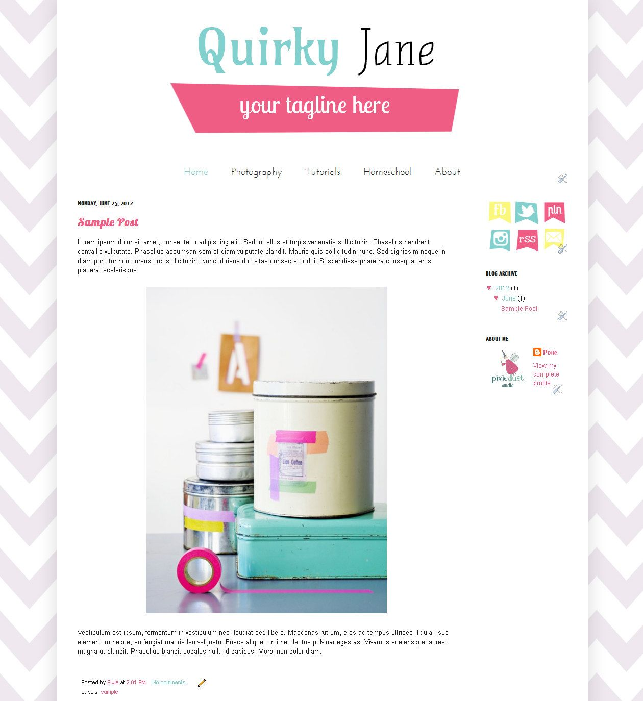 Quirky Jane Premade Blogger Template 25 00 Via Etsy