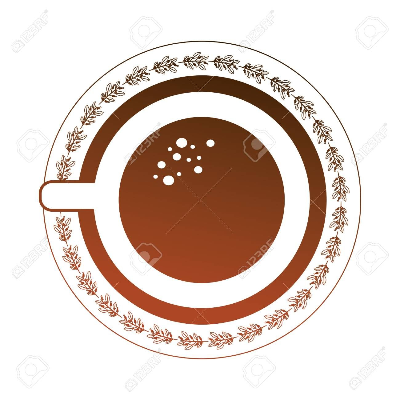aerial view delicious coffee cup with dish isolated icon vector illustration design Illustration