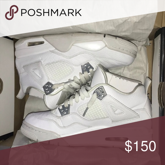 40dfd3f7b9d Pure Money 4s (gs) no major flaws, slightly creased size 7y 8/10 comes with  box Jordan Shoes Athletic Shoes