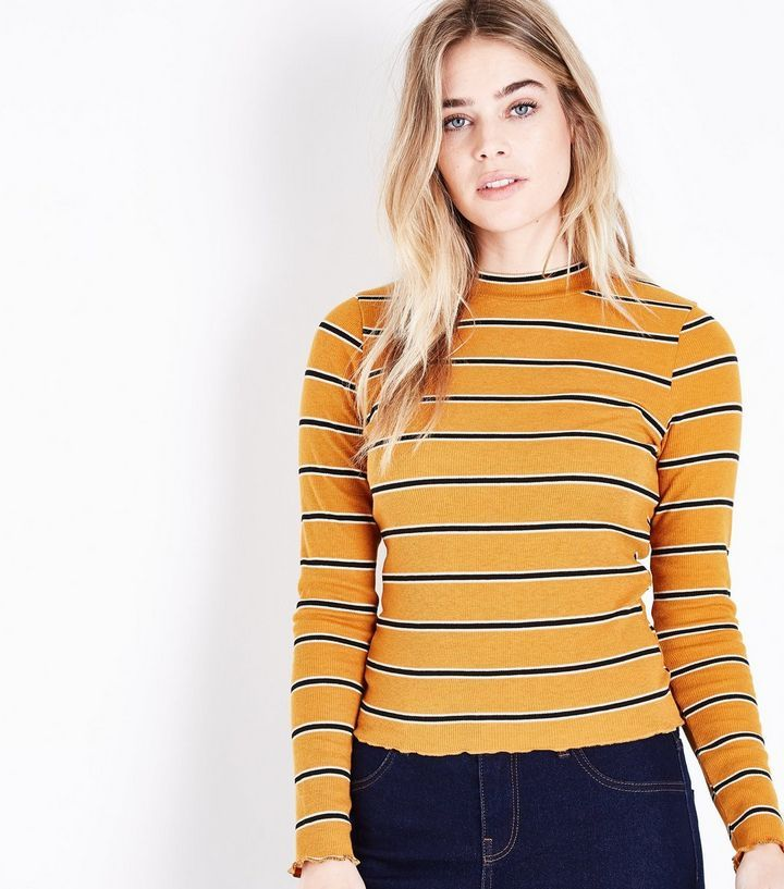 a6baacb59a13e8 Mustard Yellow Stripe Long Sleeve Ribbed T-Shirt