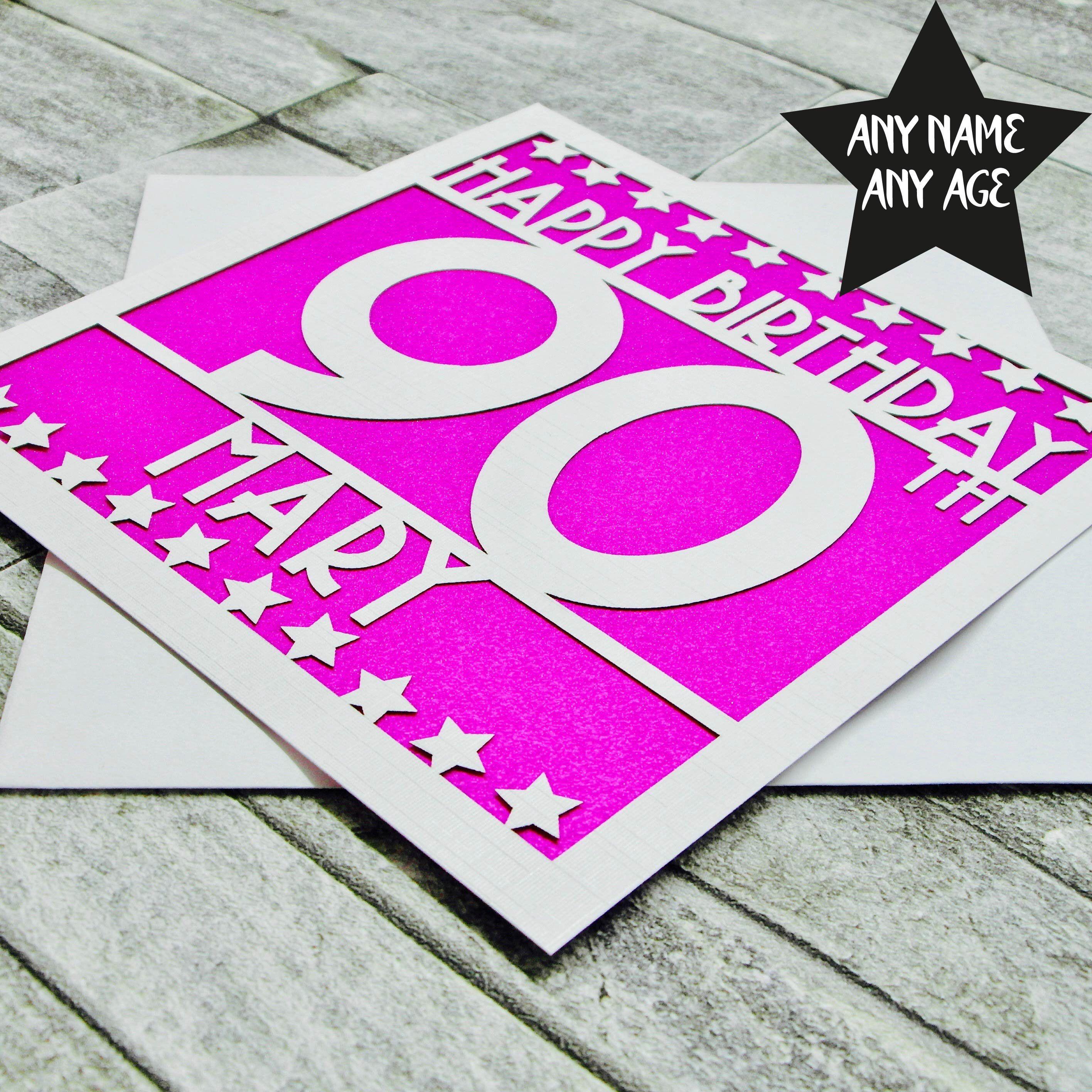 Personalised 90th Birthday Card Age 90 Ninetieth For Her Mum Grandma Dad Laser Cut