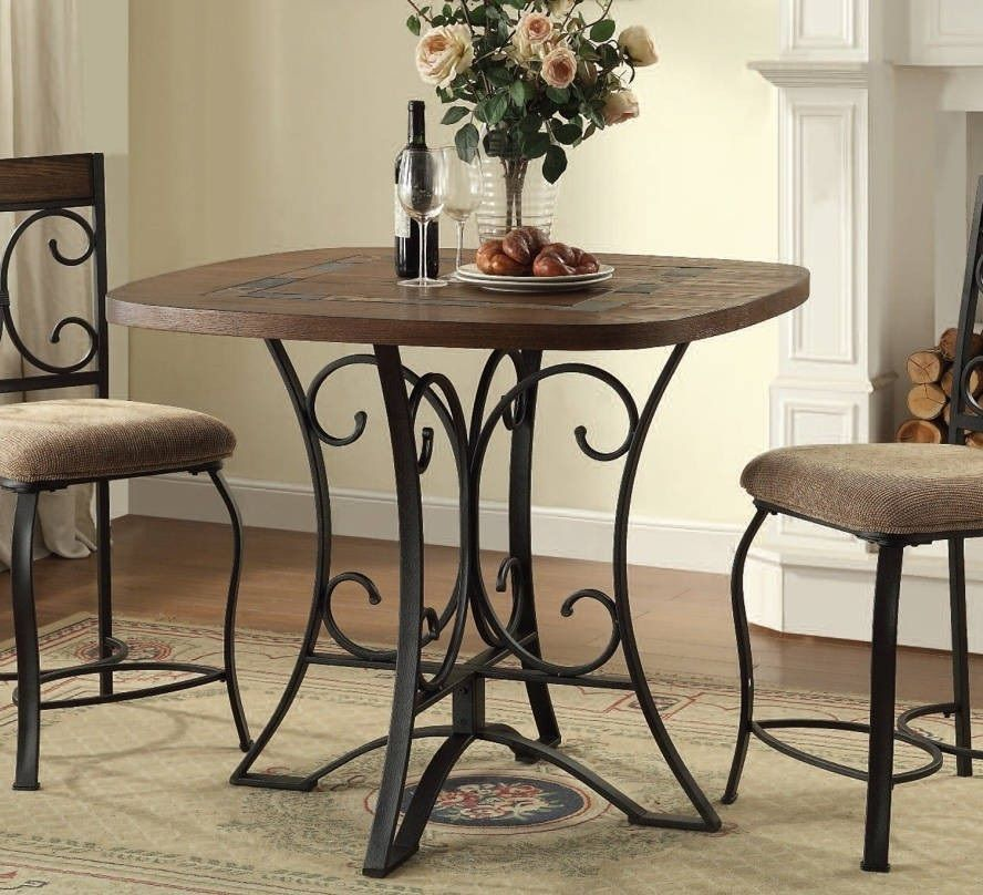 Counter Height Dining Room Table Wood Slate Top Metal Kitchen Bar