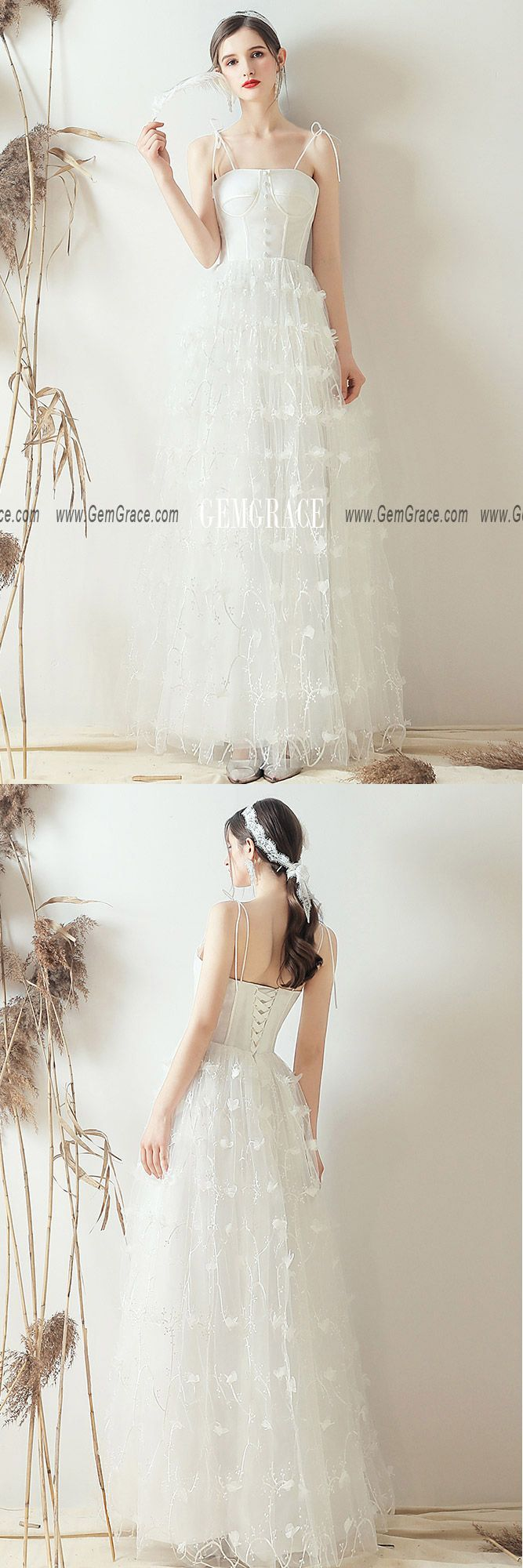Lovely Beaded Flowers Retro Corset Top Wedding Dress With