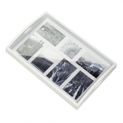 White Painted Wood Photo Frame Serving Tray for 7 Pictures | Aspen ...