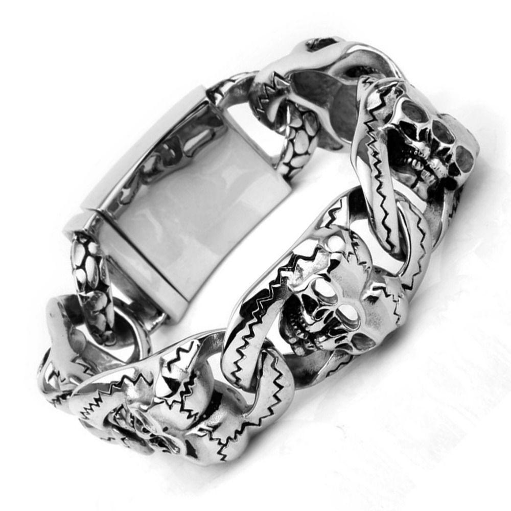Top quality men titanium steel gothic style skull bracelet l