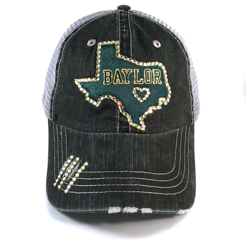 c361f19390e20  42 Show your Baylor Bear spirit in great taste. Elivata Swarovski crystal  bling fitted trucker baseball cap.