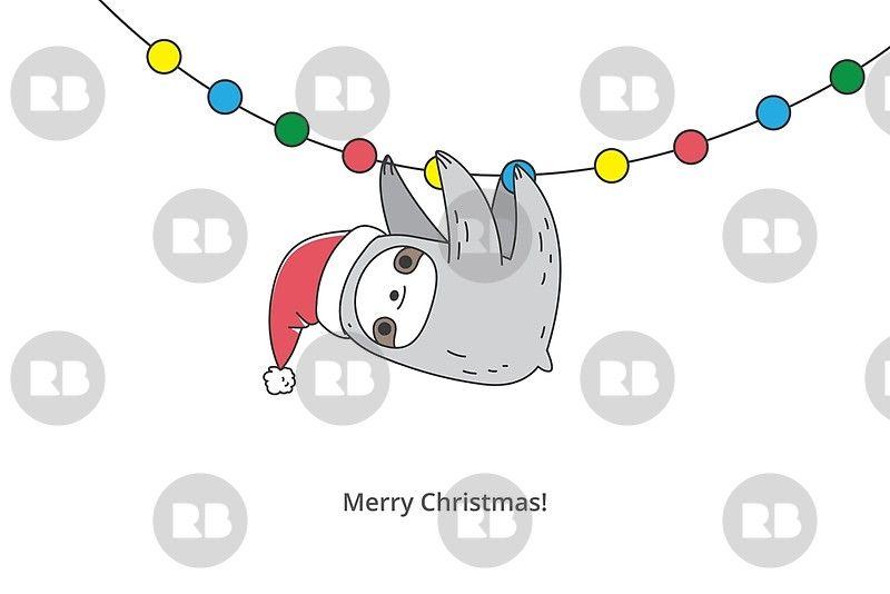 Christmas Sloth.Christmas Sloth Pattern Greeting Card Sloth Christmas