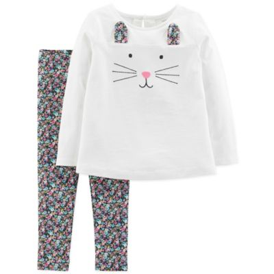 a036cb657cce Carter's Size 18M 2-Piece Bunny Face Top And Pant Set In Ivory ...