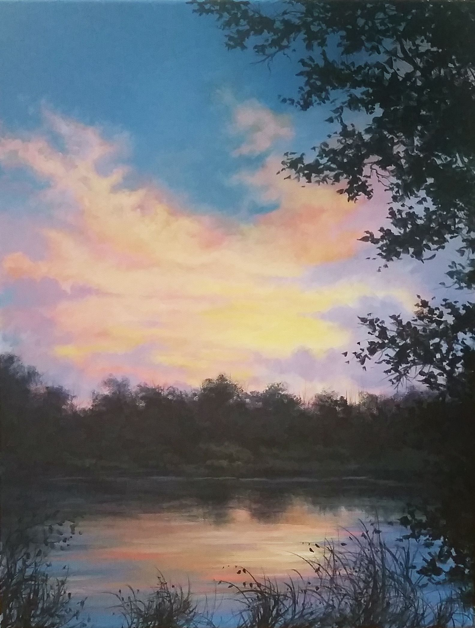Sunset On The Lake Acrylic Painting By Kevin Hill Watch Short Oil Painting Lessons On Youtube Lake Sunset Painting Landscape Paintings Acrylic Lake Painting