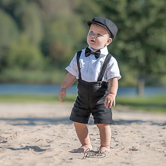 8d7b68b4c Ring bearer newsboy outfit Baby boy linen suit Wedding party boy suit  Shorts Suspenders Newsboy hat