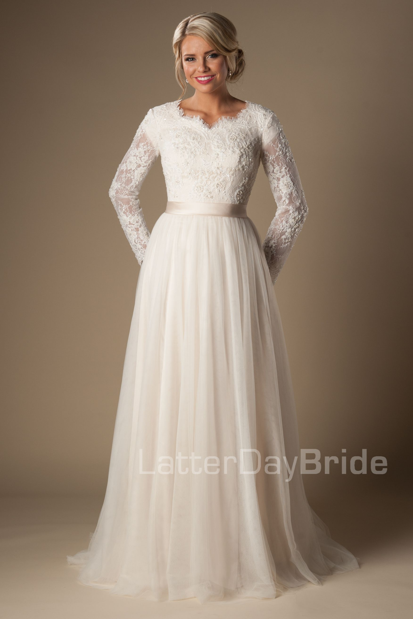 Fairchild - ivory and gold - full length sleeve - modest bridal gown ...