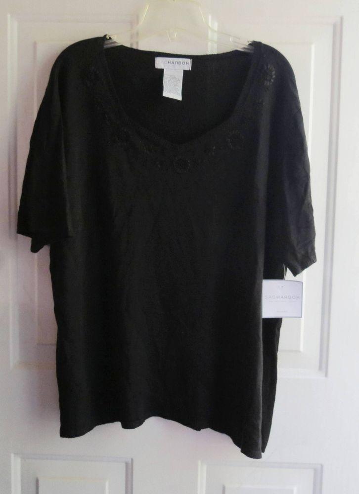 Sag Harbor Woman Sweater Top Shirt 2X Black Beautiful Embellished Neckline  #SagHarbor #ScoopNeck