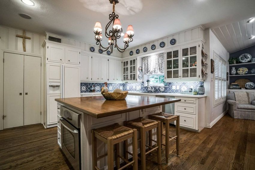 White Cabinet Kitchen With Butcher Block Island
