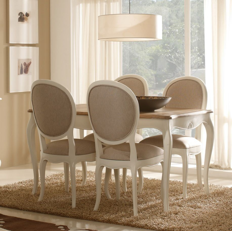 Mesa de comedor extensible vintage blanca maison lana for Juego de mesa y sillas para cocina