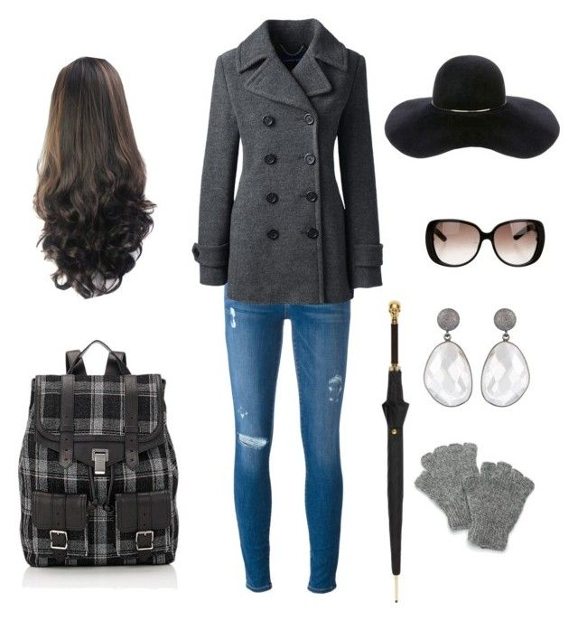 """""""A walk on the street"""" by v-elizabeth on Polyvore featuring Frame Denim, Lands' End, Proenza Schouler, Gucci, Alexander McQueen, SIJJL and Eugenia Kim"""