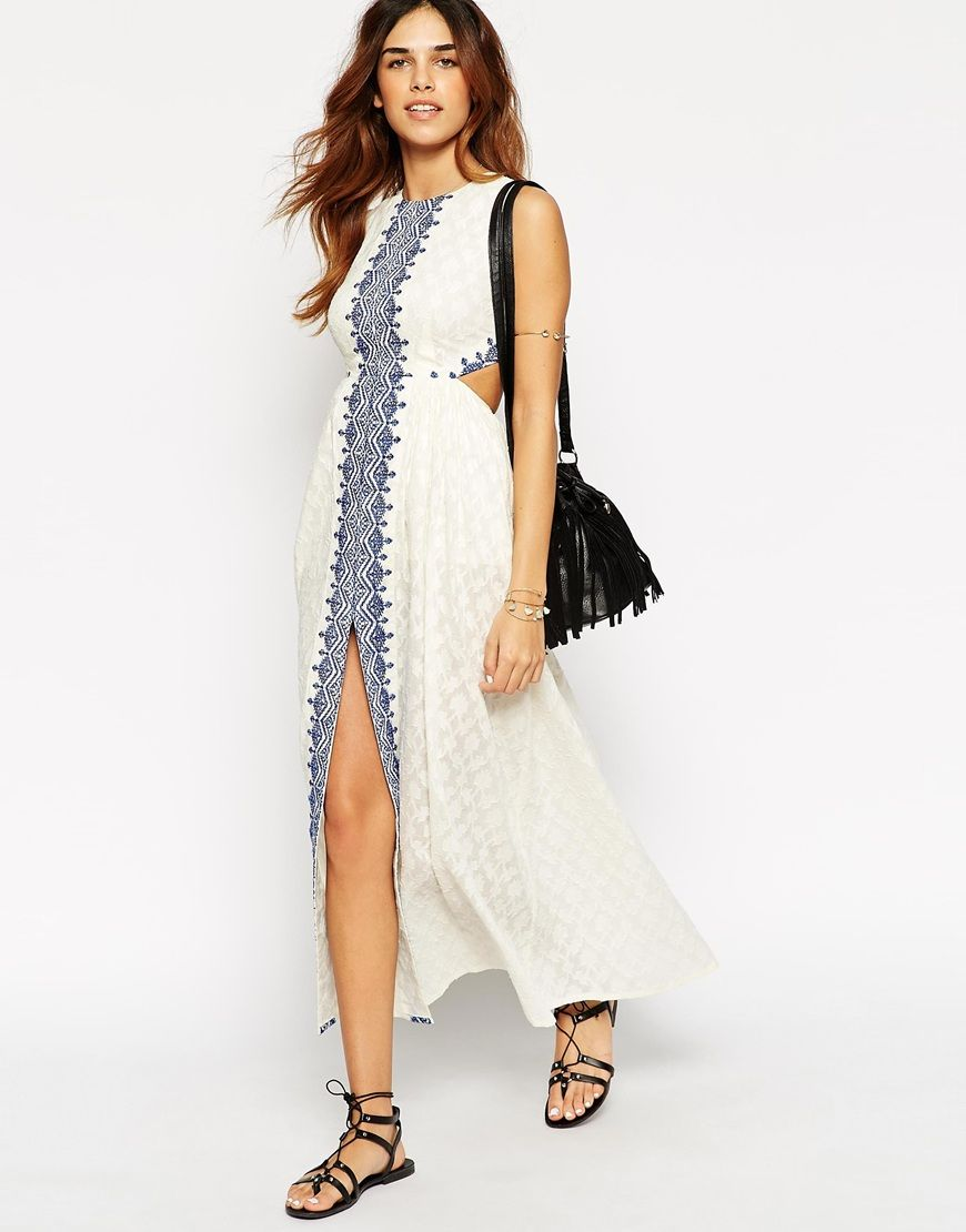 ASOS PETITE - Maxi Dress With Festival Embroidery & Cut Out Back ...