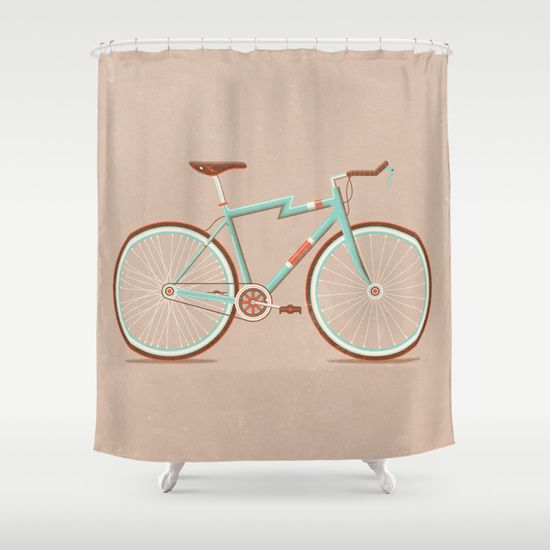 Attractive Bicycle Shower Curtain