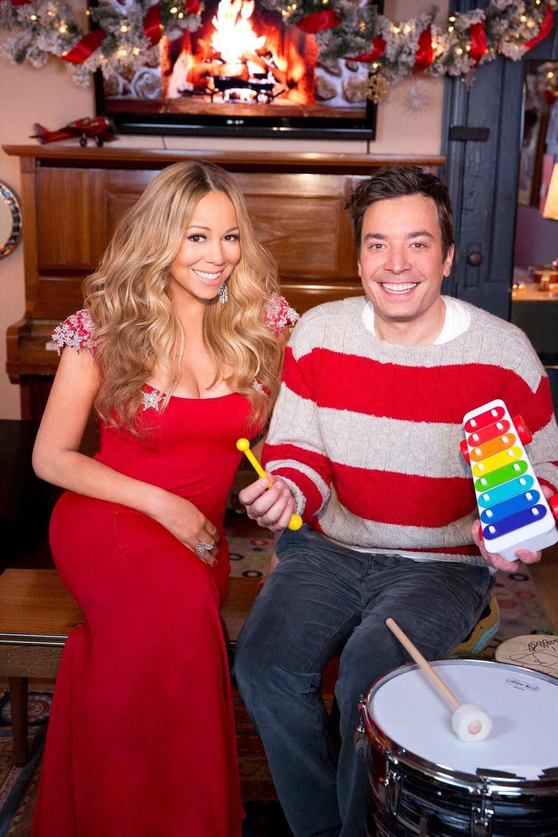Mariah Carey and Jimmy Fallon celebrating the Christmas Season ...