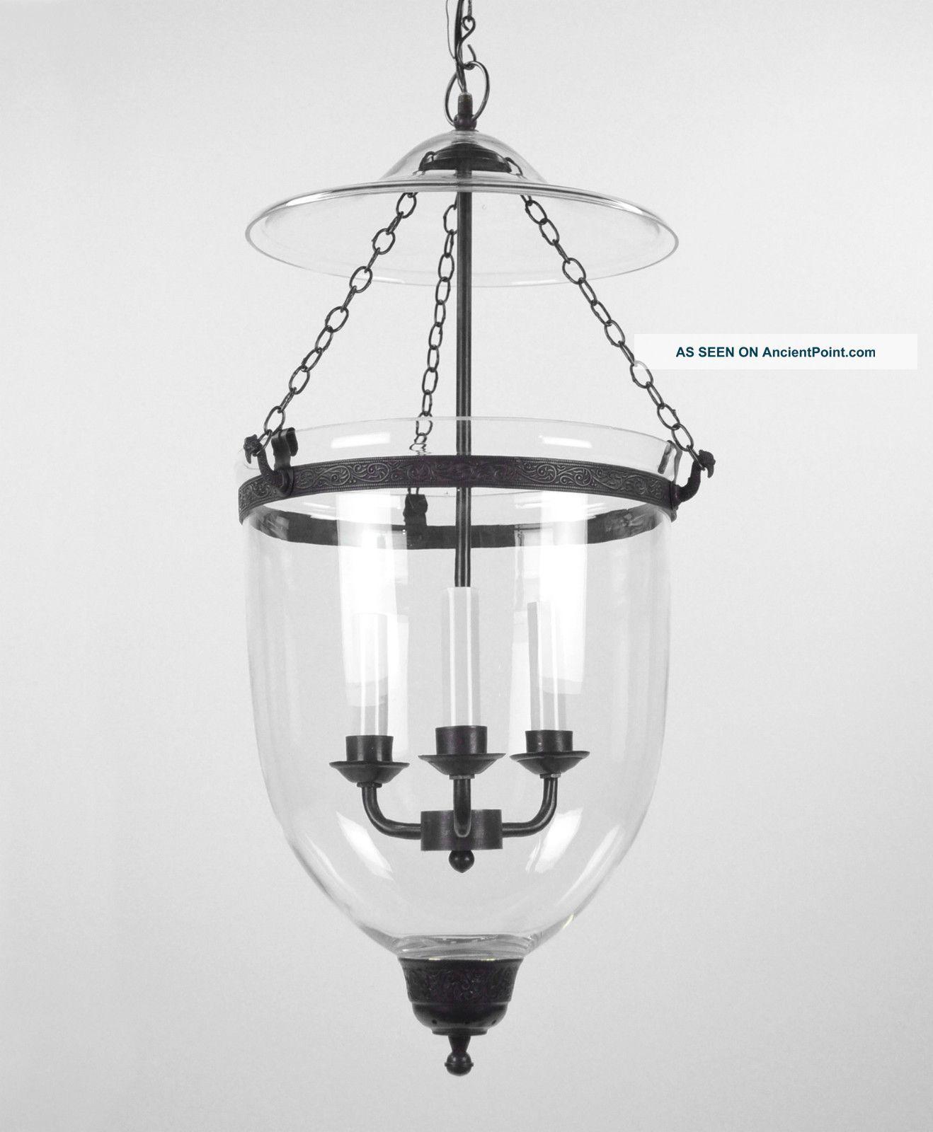 Large Bell Jar Light Chandelier Pendant Lantern Glass Colonial Old