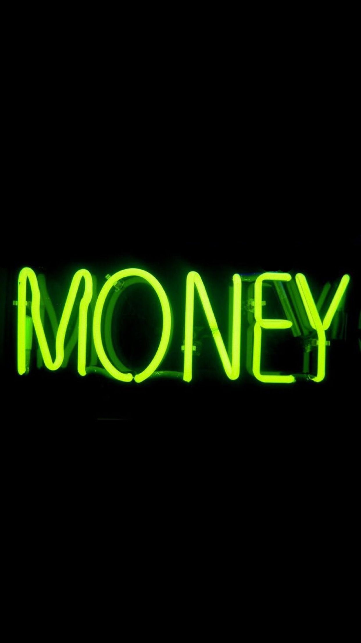 Money Green Neon Sign Wallpaper Neon Quotes Neon Wallpaper Wallpaper Iphone Neon
