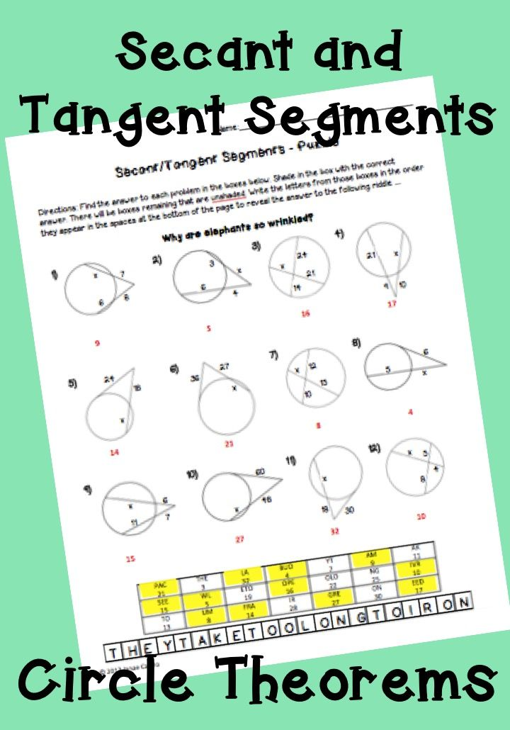 Geometry Circle Theorems Secant And Tangent Segments Puzzle