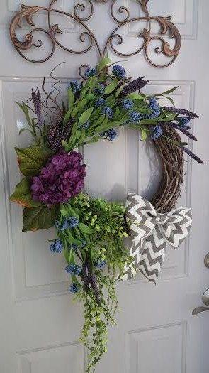 Year Round Wreath, Large Wreath, Spring Wreath, Summer Wreath, Hydrangea  Wreath, Door Wreath On Etsy, $55.00 | Dream Home | Pinterest | Year Round  Wreath, ...