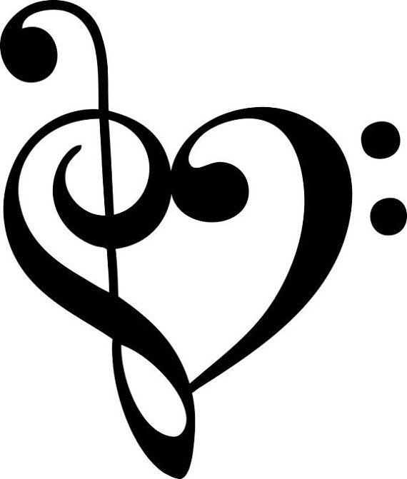 Musical Note Heart Vinyl Decal Custom Vinyl Note And Cricut - Custom vinyl decals etsy