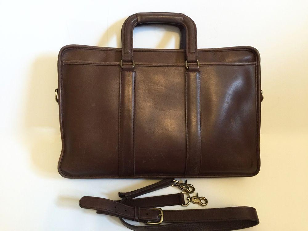 Vtg 90s Coach Brown Leather Briefcase 5296 Crossbody Messenger Lexington  USA  Coach  MessengerCrossBody 3754e988c9448