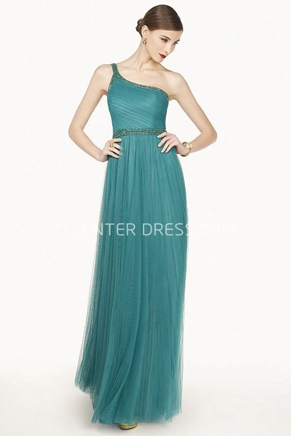 Single Strap A-Line Tulle Long Prom Dress With Beaded Neckline And Waist #chiffonshorts
